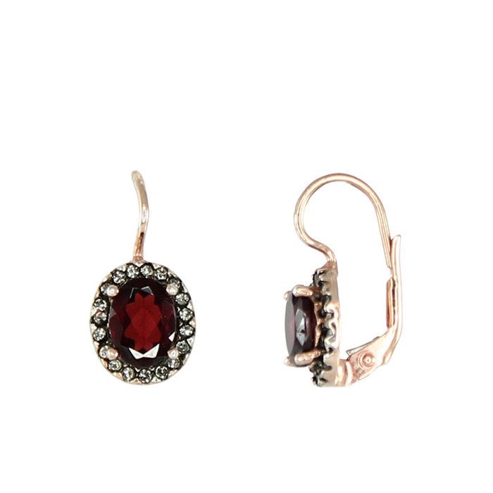Garnet & Crystal Oval Earrings