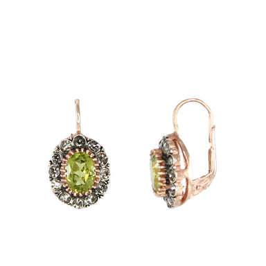 Peridot & Crystal Oval Earrings