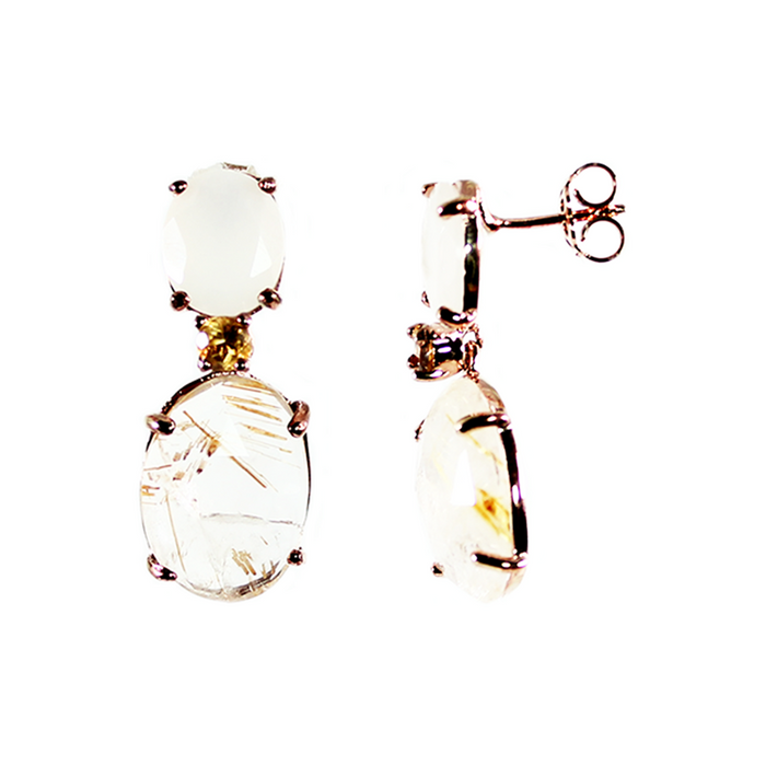 Moonstone, Citrine & Rutilated Quartz Drop Earrings