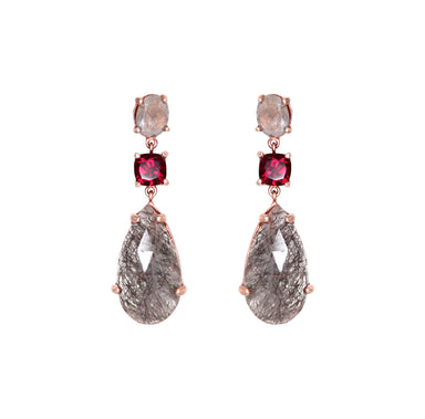 Labradorite & Garnet Drop Earrings