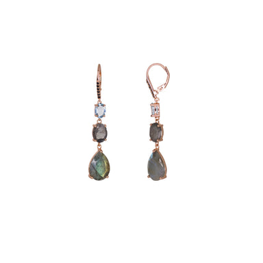 Labradorite & Blue Topaz Drop Earrings