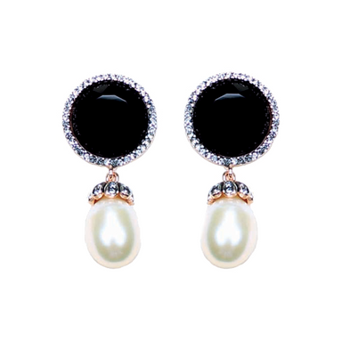 Onyx & Pearl Stud Earrings