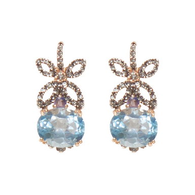 Blue Topaz & Flower Crystal Drop Earrings