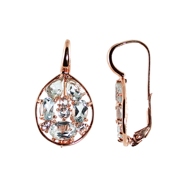 Blue Topaz & Rose Gold Drop Earrings