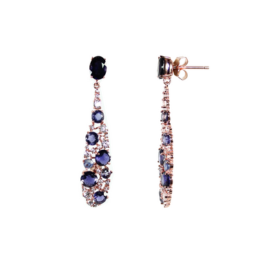 Iolite & Crystal Drop Earrings