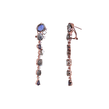 Labradorite & Sapphire Drop Earrings