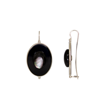 Black Oval & Grey Mother-Of-Pearl Earrings
