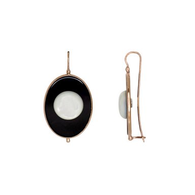 Black Oval & Mother-Of-Pearl Earrings