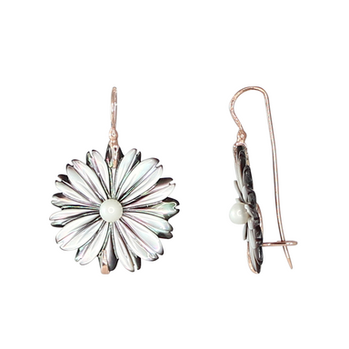 Grey Mother-of-Pearl Flower Earrings