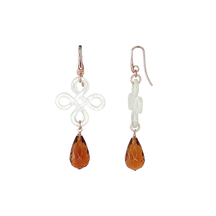 "Mother-of-Pearl ""Knot"" Citrine Drop Earrings"