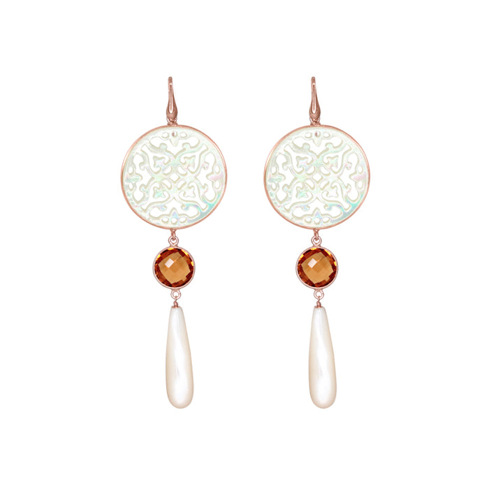 Mother-of-Pearl Citrine Drop Earrings