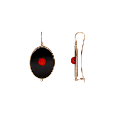 Black Oval & Coral Earrings