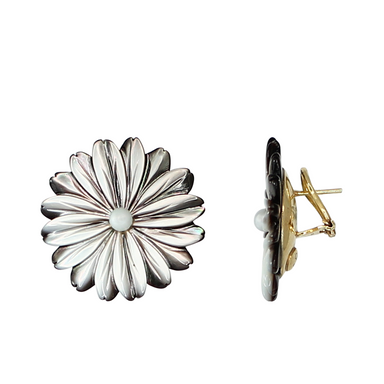 Grey Mother-of-Pearl Flower Lever Earrings