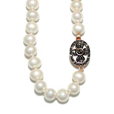 White Cultured Freshwater Pearl Necklace with Crystal Flower Clasp - 45cm