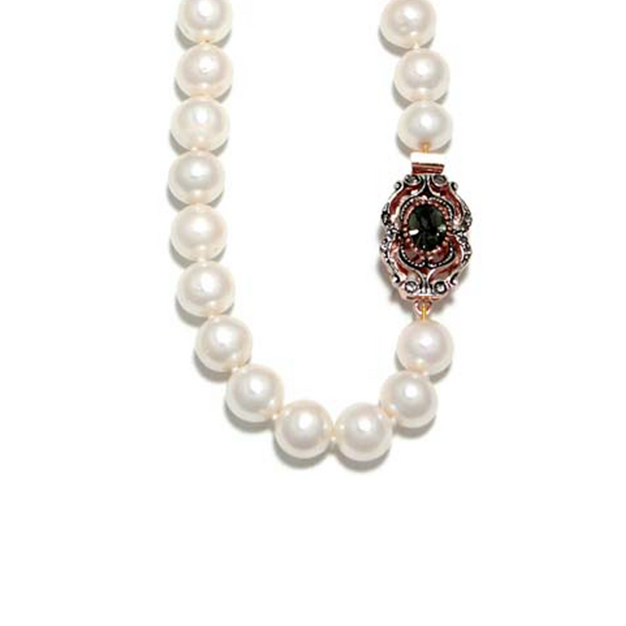 White Cultured Freshwater Pearl Necklace with Crystal Clasp - 45cm