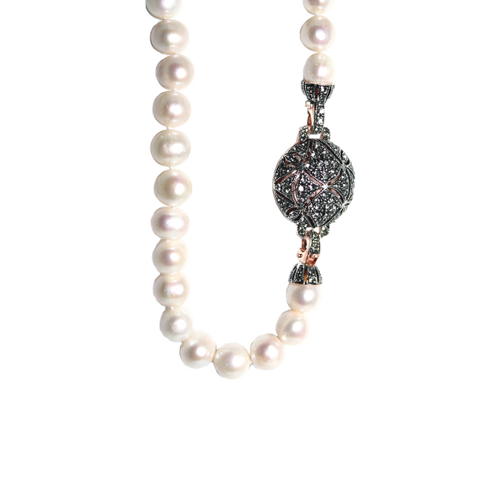 White Cultured Freshwater Pearl Necklace with Crystal Ball Clasp - 81cm