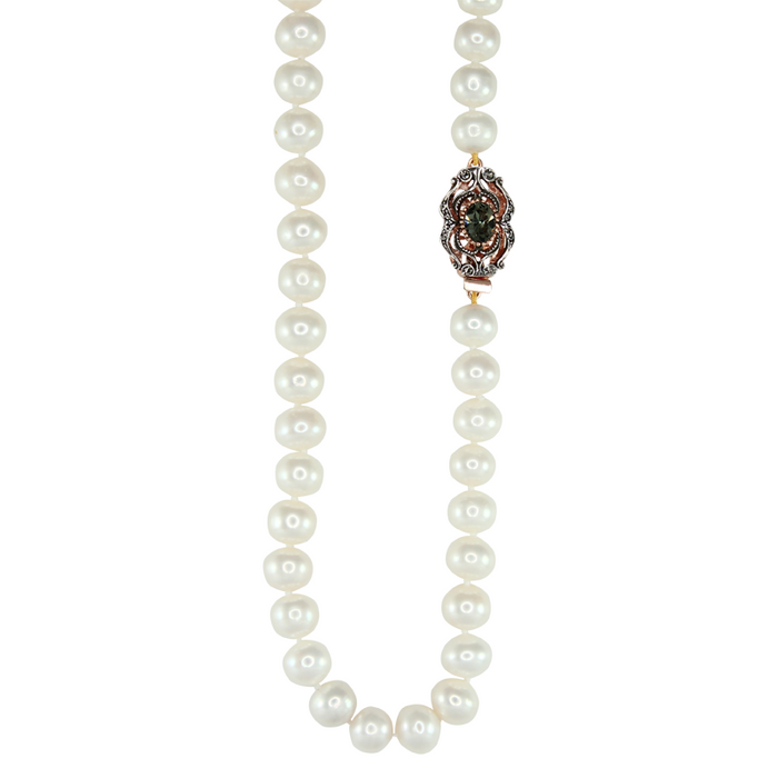 White Cultured Freshwater Pearl Necklace with Vintage Crystal Clasp