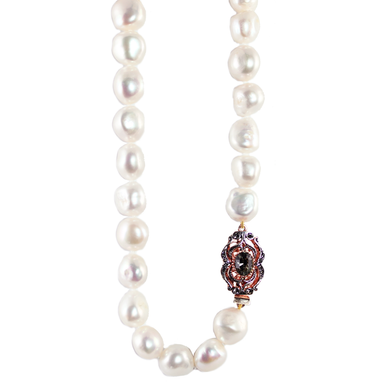White Baroque Cultured Freshwater Pearl Necklace with Crystal Clasp - 61cm