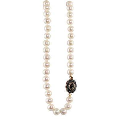 White Cultured Freshwater Pearl Necklace with Crystal Oval Clasp - 45cm