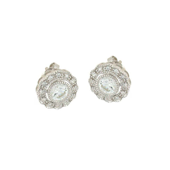 Circle Flower Stud Earrings