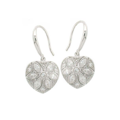Heart Flower Drop Earrings