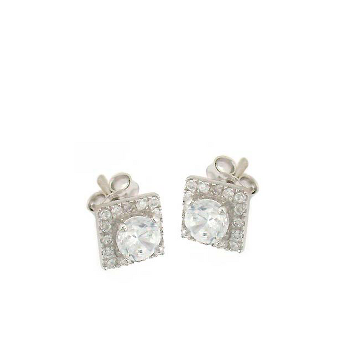 Large Circle Square Stud Earrings