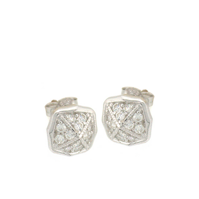 Crossed Square Stud Earrings