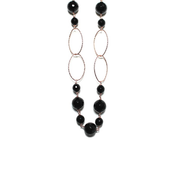 Black Agate & Rose Gold Necklace