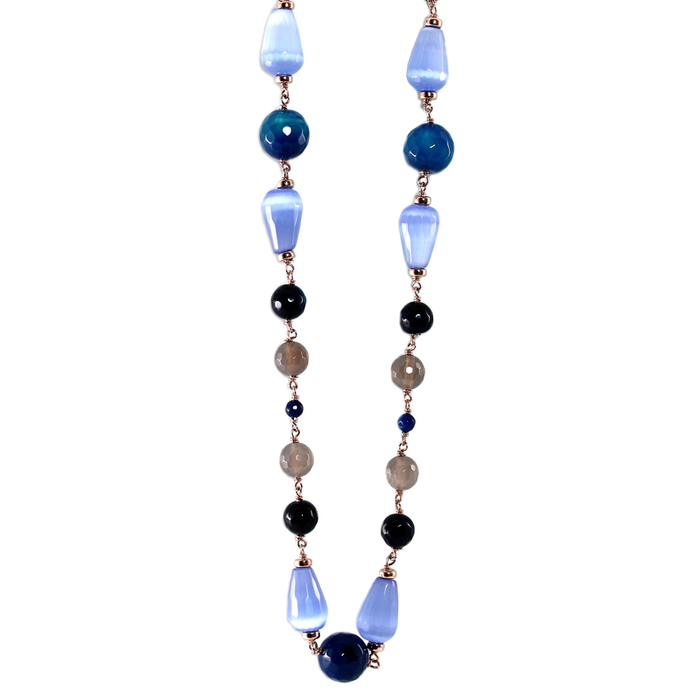 Blue Cat's Eye Necklace - 115cm