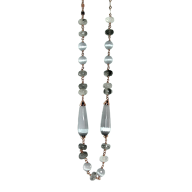 Grey Cat's Eye Teardrop Necklace - 105cm
