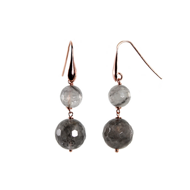 Cloudy Quartz Double Drop Earrings