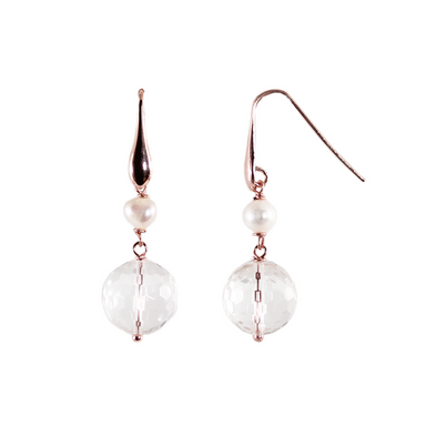 Crystal & Pearl Double Drop Earrings