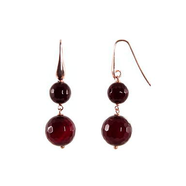 Ruby Agate Double Drop Earrings