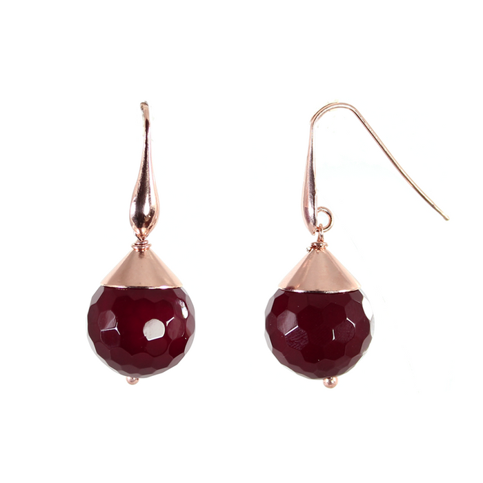 Ruby Agate Single Drop Earrings