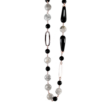 Black & Cloudy Quartz Necklace - 110cm