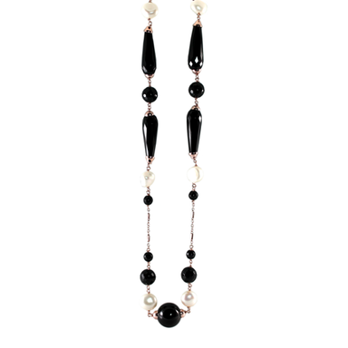 Black Agate & Pearl Necklace - 70cm