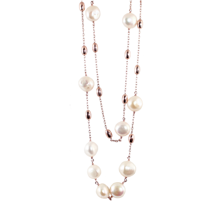 White Pearl Double Strand Necklace - 120cm