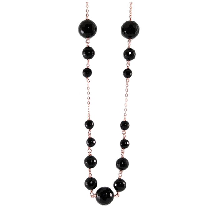Black Agate Necklace - 80cm