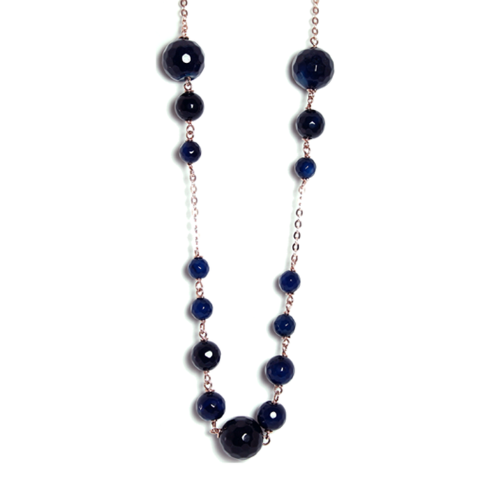 Petrol Blue Agate Necklace - 80cm