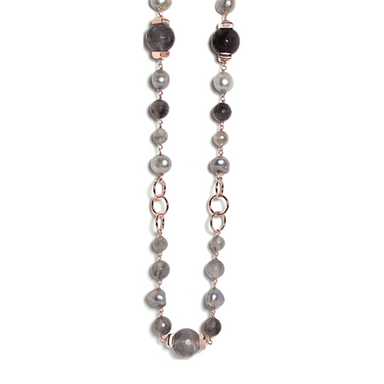 Cloudy Quartz & Silver Pearl Necklace - 100cm