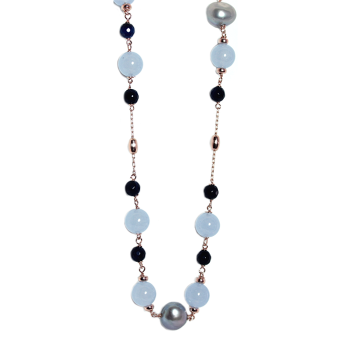 Blue Quartz & Silver Pearl Necklace - 125cm