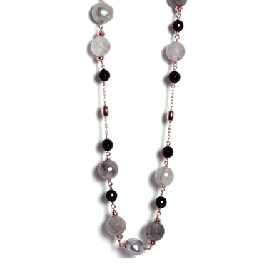 Cloudy Quartz & Silver Pearl Necklace - 125cm