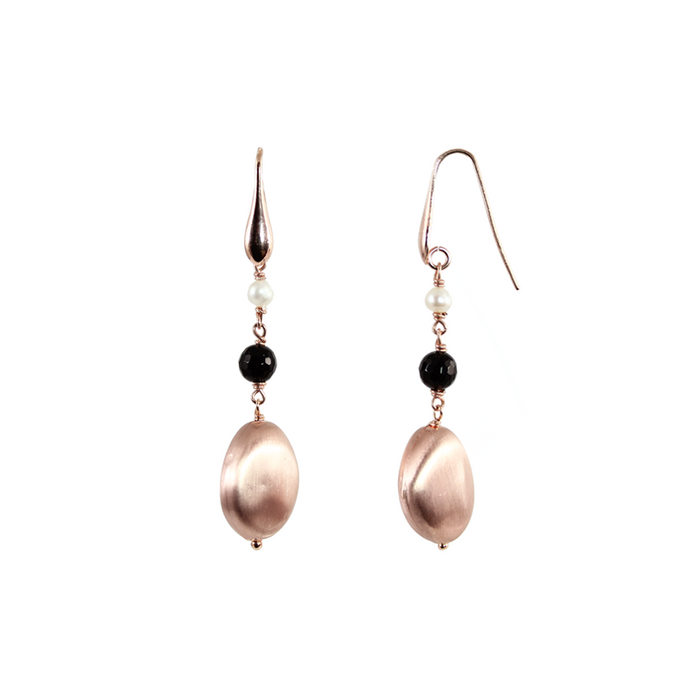 Black, Pearl & Rose Gold Earrings