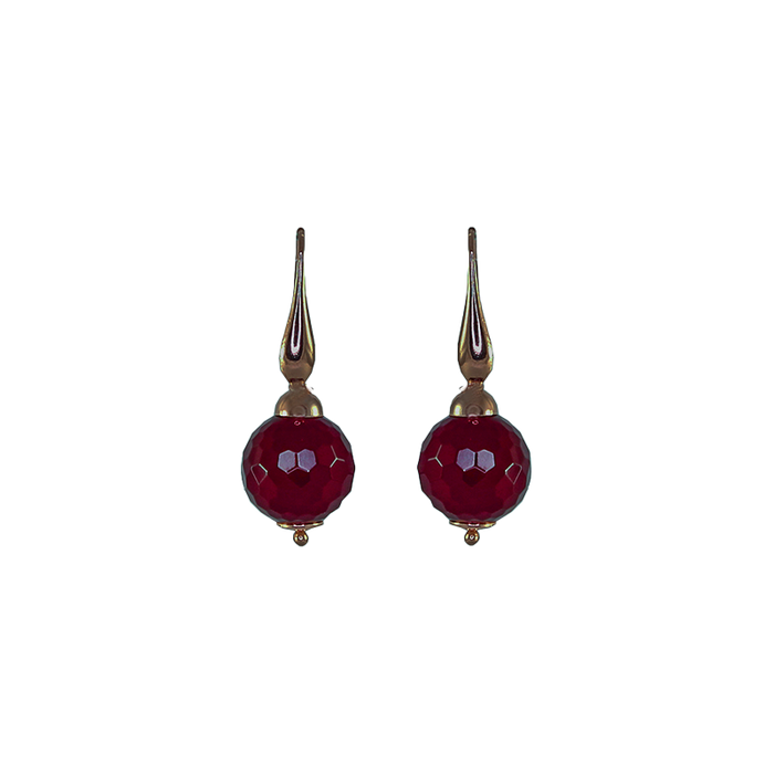 Ruby Agate Single Drop Earrings (Small)