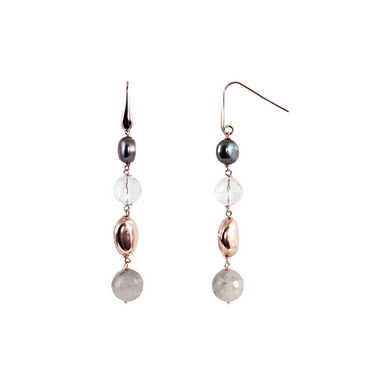 Silver Pearl, Cloudy Quartz & Crystal Drop Earrings