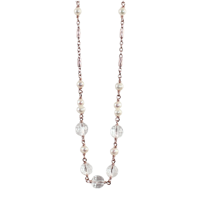 White Pearl & Crystal Necklace - 70cm