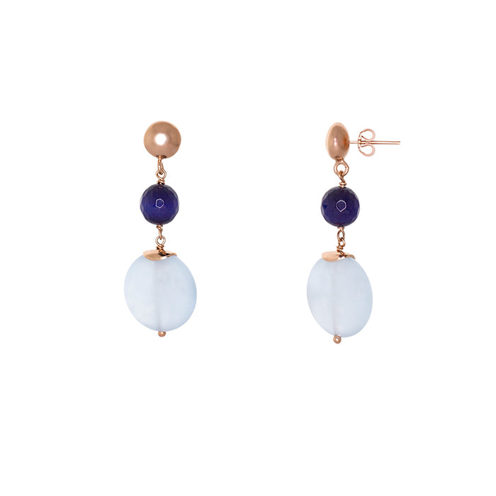 Blue Jade Coin and Dark Blue Drop Stud Earring