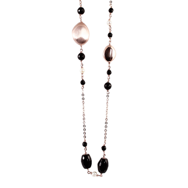 Black Agate, Pearl & Rose Gold Necklace - 70cm