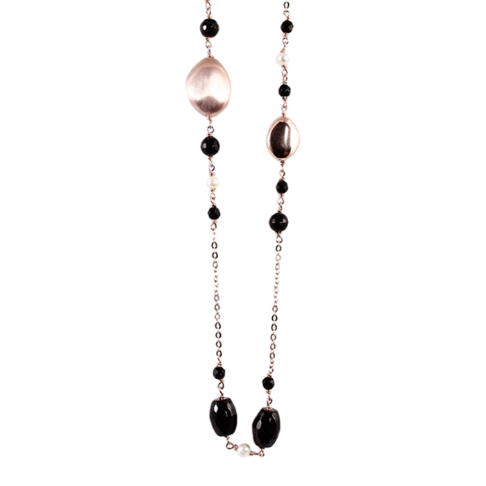 Black Agate, Pearl & Rose Gold Necklace - 130cm