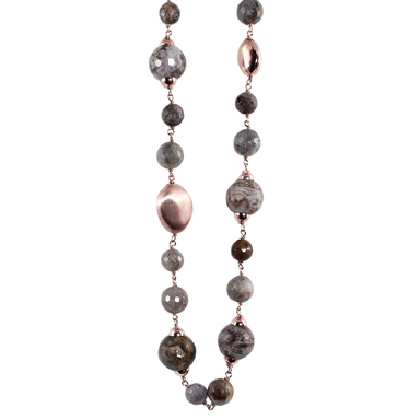 Grey Jasper & Rose Gold Necklace - 60cm